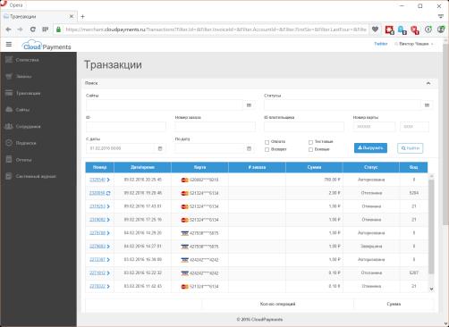 CloudPayments мониторинг транзакций